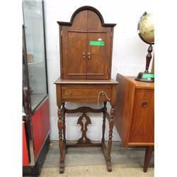 Vintage Walnut Telephone Cabinet/Desk ca1920