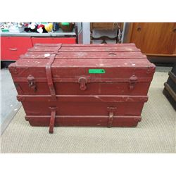 Flat Top Slat Trunk ca1915 Painted Red