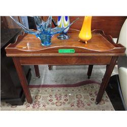 Vintage Mahogany Gallery Top Rolling Tea Table