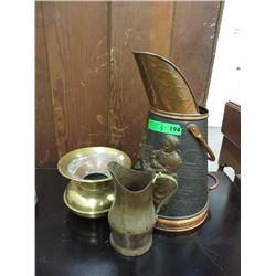 Coal Scuttle, Copper Jug & Brass Spittoon