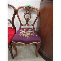Victorian Balloon Back Chair w/ Needlework Seat