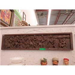 """Heavily Carved Plaque """"Tribe Back From Hunt"""""""