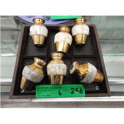 6 Brass & Mother of Pearl 3  Keepsake Urns