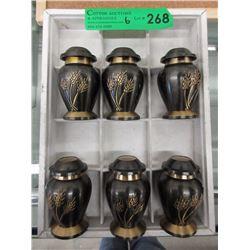 6 Black & Brass 3  Keepsake Urns