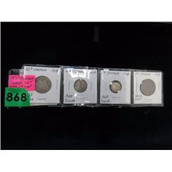 1918 Silver Canadian Coin Set with 1¢