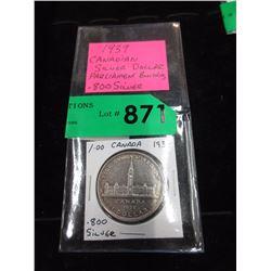 1939 Canadian Silver Dollar Coin - .800 Silver