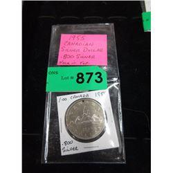 1955 Canadian Silver Dollar Coin - .800 Silver
