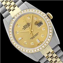 Rolex Men's Two Tone 14K Gold/SS, QuickSet, Diamond Dial & Diamond Bezel - REF-480A2N