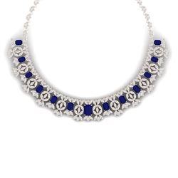 50.44 CTW Royalty Sapphire & VS Diamond Necklace 18K Rose Gold - REF-1654H5W - 39382