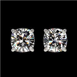 1 CTW Certified VS/SI Quality Cushion Cut Diamond Stud Earrings 10K White Gold - REF-143F6M - 33066