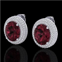 9 CTW Garnet & Micro Pave VS/SI Diamond Certified Earrings 18K White Gold - REF-153W5H - 20226