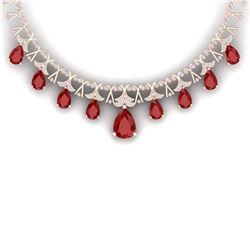 56.94 CTW Royalty Ruby & VS Diamond Necklace 18K Rose Gold - REF-1236T4X - 38704