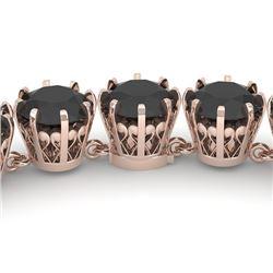 54 CTW Certified Black VS Diamond Necklace 14K Rose Gold - REF-1581T8X - 29645