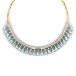 43.05 CTW Royalty Sky Topaz & VS Diamond Necklace 18K Yellow Gold - REF-854R5K - 38882