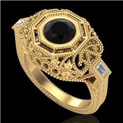 1.13 CTW Fancy Black Diamond Solitaire Engagement Art Deco Ring 18K Yellow Gold - REF-140W2H - 37823