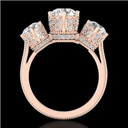3.06 CTW VS/SI Diamond Solitaire Art Deco 3 Stone Ring 18K Rose Gold - REF-585N8Y - 36849
