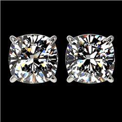 2.50 CTW Certified VS/SI Quality Cushion Cut Diamond Stud Earrings 10K White Gold - REF-663F2M - 331