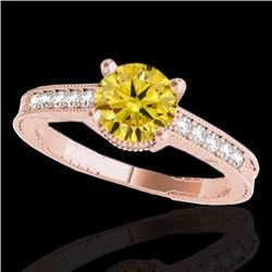 1.2 CTW Certified Si Intense Yellow Diamond Solitaire Antique Ring 10K Rose Gold - REF-149H3W - 3475