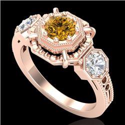 1.01 CTW Intense Fancy Yellow Diamond Art Deco 3 Stone Ring 18K Rose Gold - REF-165M5F - 37470