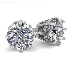3.09 CTW VS/SI Diamond Stud Solitaire Earrings 18K White Gold - REF-957T2X - 35700