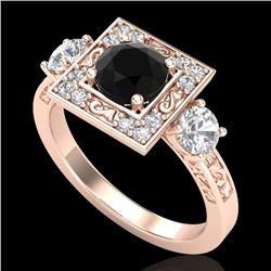 1.55 CTW Fancy Black Diamond Solitaire Art Deco 3 Stone Ring 18K Rose Gold - REF-149W3H - 38172