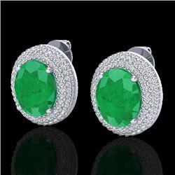 9.20 CTW Emerald & Micro Pave VS/SI Diamond Certified Earrings 18K White Gold - REF-190N2Y - 20223