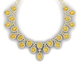 76 CTW Royalty Canary Citrine & VS Diamond Necklace 18K Yellow Gold - REF-1381H8W - 38636