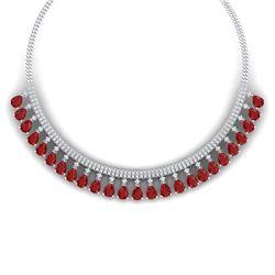 51.75 CTW Royalty Ruby & VS Diamond Necklace 18K White Gold - REF-1072K8R - 38874