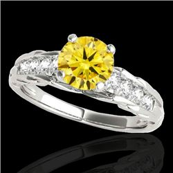 1.2 CTW Certified Si Fancy Intense Yellow Diamond Solitaire Ring 10K White Gold - REF-158N2Y - 34941