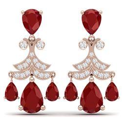 11.97 CTW Royalty Designer Ruby & VS Diamond Earrings 18K Rose Gold - REF-176Y4N - 38719