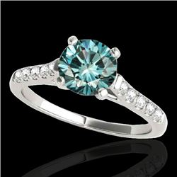 1.2 CTW SI Certified Fancy Blue Diamond Solitaire Ring 10K White Gold - REF-145H3W - 34975