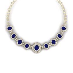 45.69 CTW Royalty Sapphire & VS Diamond Necklace 18K Yellow Gold - REF-1581R8K - 38798