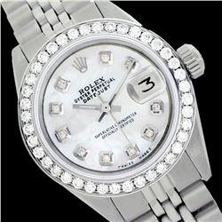 Rolex Ladies Stainless Steel, Diam Dial & Diam/Emerald Bezel, Saph Crystal - REF-355X6A