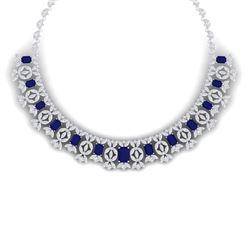 50.44 CTW Royalty Sapphire & VS Diamond Necklace 18K White Gold - REF-1654K5R - 39381