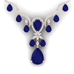 37.14 CTW Royalty Sapphire & VS Diamond Necklace 18K Rose Gold - REF-763T6X - 38596