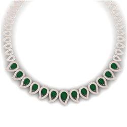 33.4 CTW Royalty Emerald & VS Diamond Necklace 18K Rose Gold - REF-1236Y4N - 39436