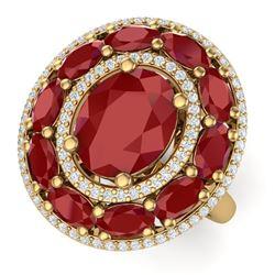8.05 CTW Royalty Designer Ruby & VS Diamond Ring 18K Yellow Gold - REF-143F6M - 39242
