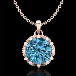 1.36 CTW Fancy Intense Blue Diamond Solitaire Art Deco Necklace 18K Rose Gold - REF-180X2T - 38105