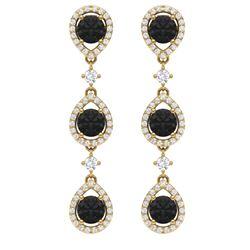 4.7 CTW Certified Black VS Diamond Earrings 18K Yellow Gold - REF-209N3Y - 39098