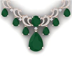 34.91 CTW Royalty Emerald & VS Diamond Necklace 18K Rose Gold - REF-1000R2K - 38656
