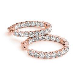 8 CTW Diamond VS/SI Certified 23 Mm Hoop Earrings 14K Rose Gold - REF-936R8K - 29024