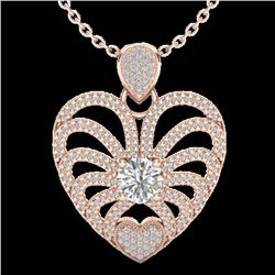 3 CTW Micro Pave VS/SI Diamond Certified Heart Necklace 14K Rose Gold - REF-739Y2N - 20504