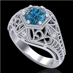 1.07 CTW Fancy Intense Blue Diamond Solitaire Art Deco Ring 18K White Gold - REF-218H2W - 37551