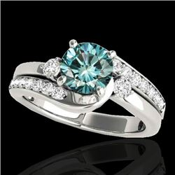 1.5 CTW SI Certified Fancy Blue Diamond Bypass Solitaire Ring 10K White Gold - REF-180X2T - 35095