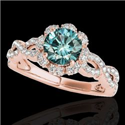 1.69 CTW SI Certified Fancy Blue Diamond Solitaire Halo Ring 10K Rose Gold - REF-188F2M - 34111
