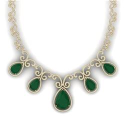38.42 CTW Royalty Emerald & VS Diamond Necklace 18K Yellow Gold - REF-1218Y2N - 39527