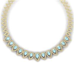 34.96 CTW Royalty Sky Topaz & VS Diamond Necklace 18K Yellow Gold - REF-1145W5H - 39446