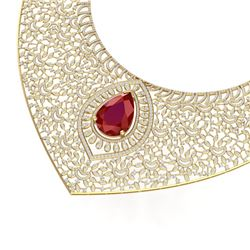 63.93 CTW Royalty Ruby & VS Diamond Necklace 18K Yellow Gold - REF-2690K9R - 39575