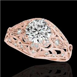 1.36 CTW H-SI/I Certified Diamond Solitaire Antique Ring 10K Rose Gold - REF-172M8F - 34712