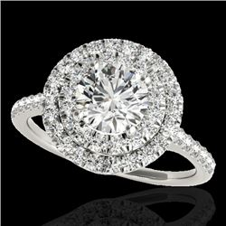 1.5 CTW H-SI/I Certified Diamond Solitaire Halo Ring Two Tone 10K White Gold - REF-163X6T - 33352